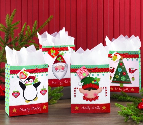 Holly Jolly Gift Bags Set of 4
