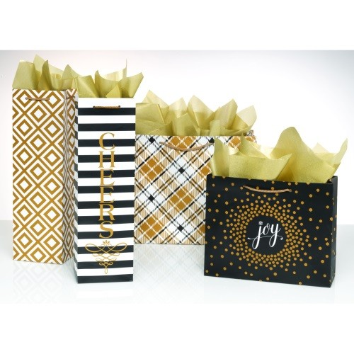 Black & Gold Gift Bags - Set of 4