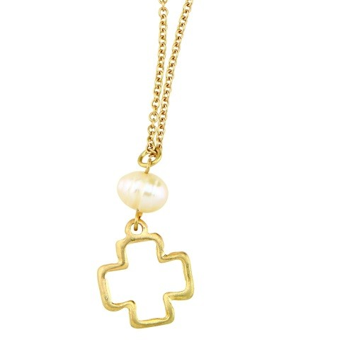Hollow Cross Necklace & Earring Set
