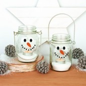 Snowman Jar Tealight Holders