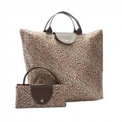 Zippered Bags with Large Handles Large Leopard Folding Bag