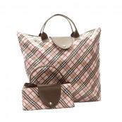Zippered Bags with Large Handles Large Fashion Plaid Folding Bag